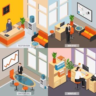 Isometrisches büro-symbol mit vier quadraten, eingestellt mit hauptbüro-konferenzsaal des empfangsraums und vektorillustration der arbeitsplatzbeschreibungen