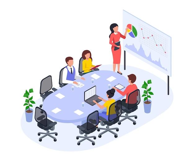 Isometrisches bürotreffen des geschäftsteams in der konferenzraumpräsentation des neuen projektvektorkonzepts