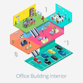 Isometrisches bürozentrum interieur. geschäftstreffenraum, rezeption, parkplatz. flache illustration 3d