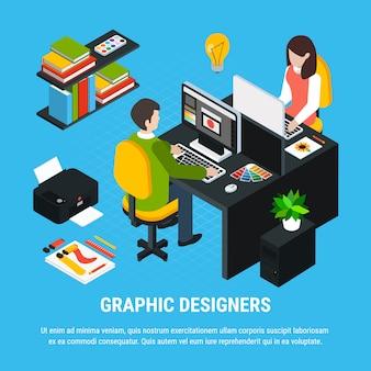 Isometrisches buntes konzept des grafikdesigns mit zwei illustratoren oder designern, die in büro 3d vektorillustration arbeiten