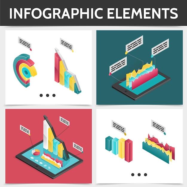 Isometrisches buntes quadratisches infografikkonzept mit 3d-geschäftsdiagrammen, balkendiagrammen und grafikillustration