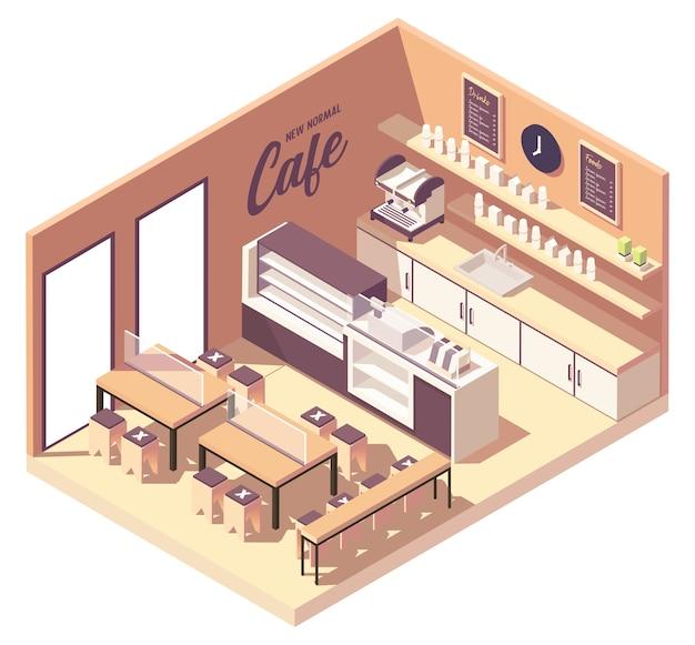 Isometrisches cafeteria-café in neuer normalität