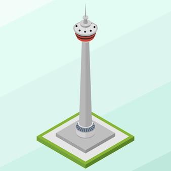 Isometrisches calgary tower-gebäude