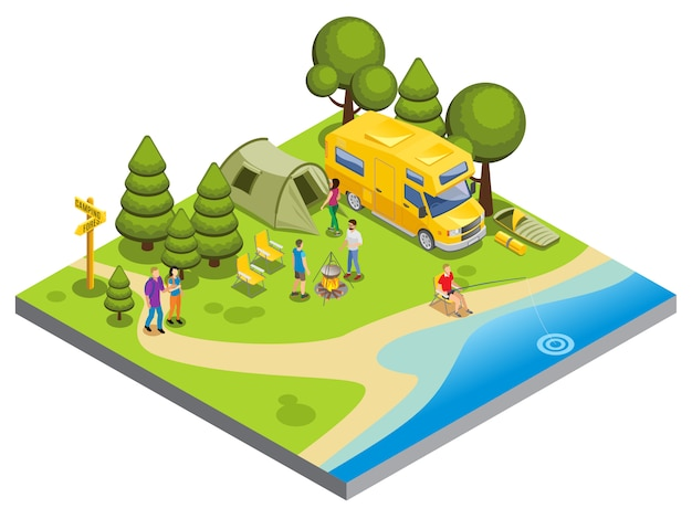 Isometrisches campingkonzept mit menschen, die lebensmittel spazieren gehen fischereizelt reisebus kochen