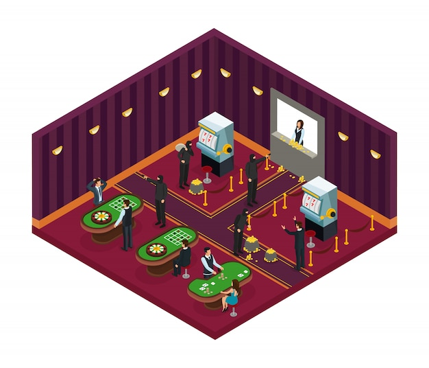 Isometrisches casino-raub-konzept