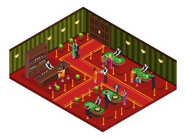 Isometrisches casino-spielzimmer-konzept