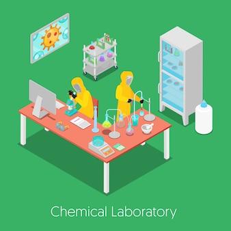 Isometrisches chemisches forschungslabor mit personal, mikroskop und kühlschrank. illustration