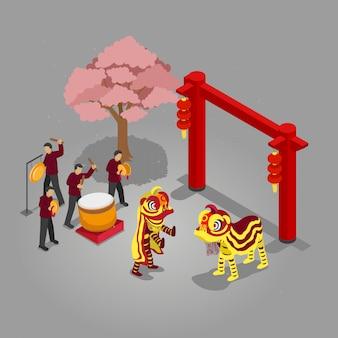 Isometrisches chinesisches neujahrsfest barongsai