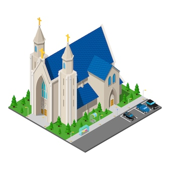 Isometrisches christlich-katholisches kirchengebäude.
