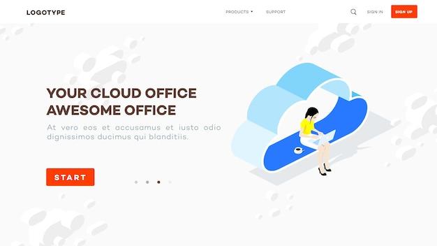 Isometrisches cloud-büro. frau mit laptop sitzen auf wolke.