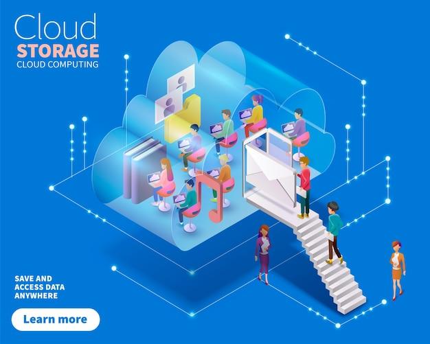 Isometrisches cloud-computing, menschen, die service in nutzen, könnten symbole formen