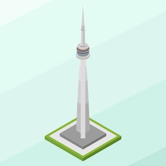 Isometrisches cn tower-gebäude