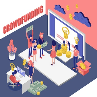 Isometrisches crowdfunding-projekt
