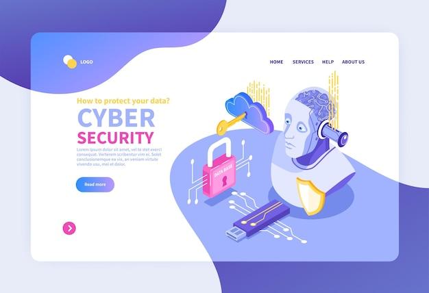 Isometrisches cybersicherheitsbanner für website mit netzwerkpiktogrammelementen
