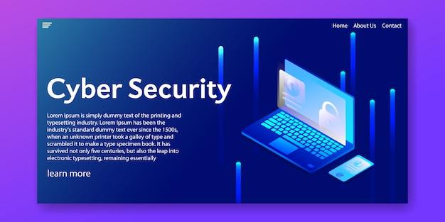 Isometrisches cybersicherheitskonzept. webschablone