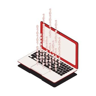 Isometrisches cybersicherheitssymbol mit 3d-laptop- und binärcode-darstellung
