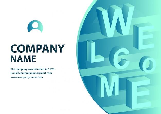 Isometrisches design der fahne mit typografie