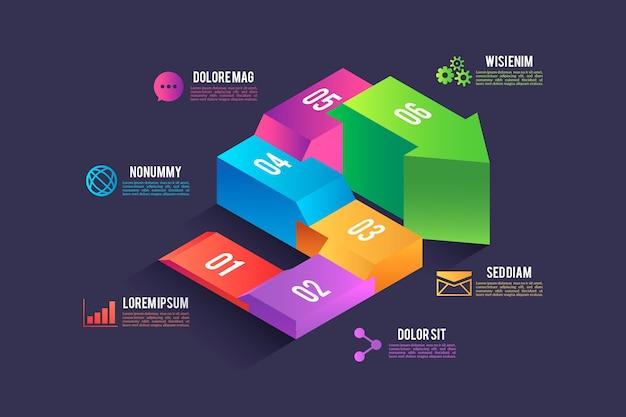 Isometrisches design der infografik-elemente