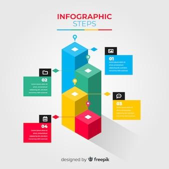 Isometrisches design der infographic-schrittschablone