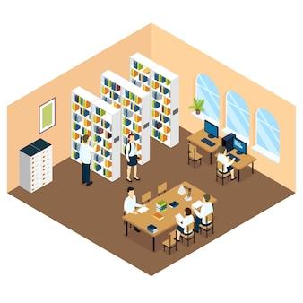 Isometrisches design der studentenbibliothek