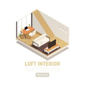 Isometrisches design des modernen loft-studieninneren