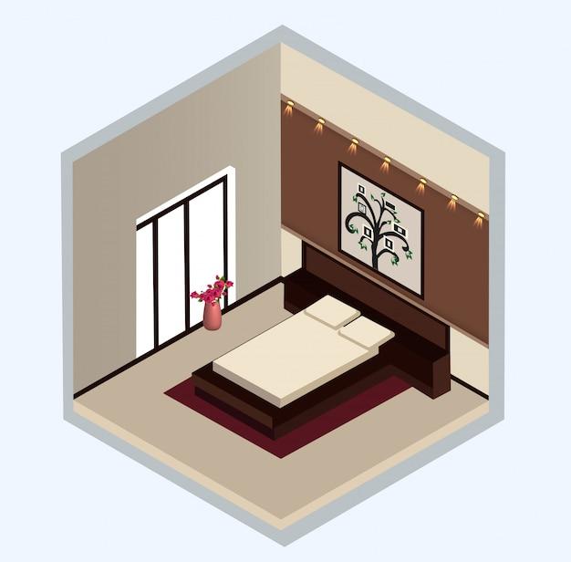 Isometrisches design des schlafzimmerinnenraums