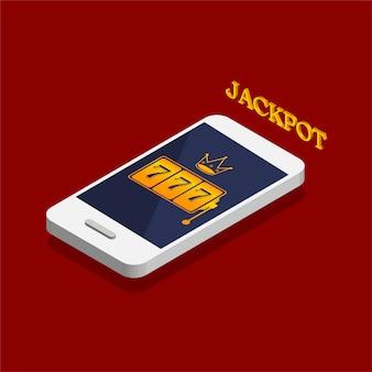 Isometrisches design eines spielautomaten mit glücklichem siebener-jackpot auf einem telefonbildschirm. online casino in einem smartphone. vektorabbildung isoliert