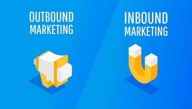 Isometrisches design für inbound- und outbound-marketing