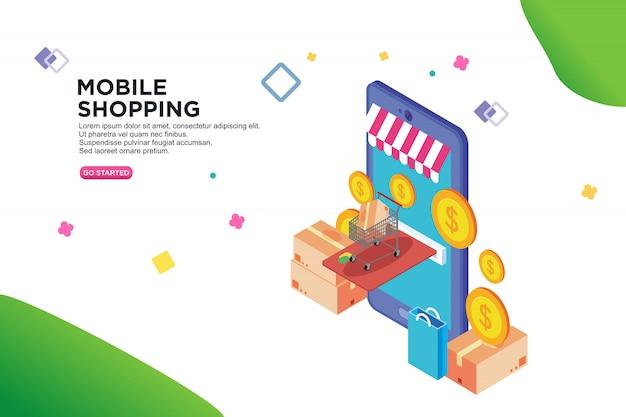 Isometrisches design für mobiles einkaufen