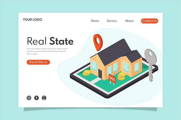 Isometrisches design immobilien landing page