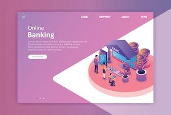 Isometrisches Design-Landing-Page-Geschäft