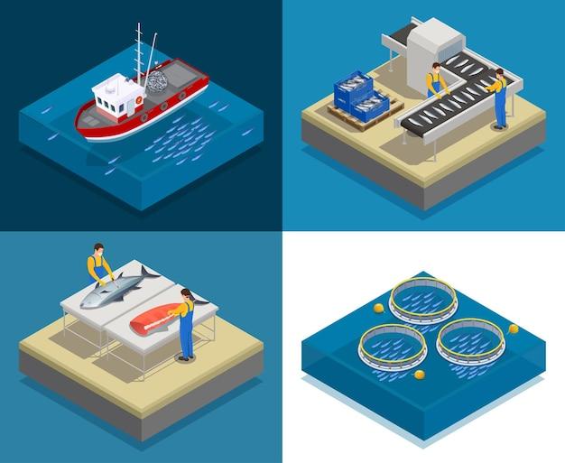 Isometrisches designkonzept der fischindustrie für die produktion von meeresfrüchten mit quadratischen kompositionen von put-and-take-fischfiletierung