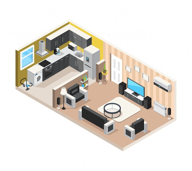 Isometrisches designkonzept des ausgangsinnenraums mit küchenwohnzimmer und haushaltsgeräten