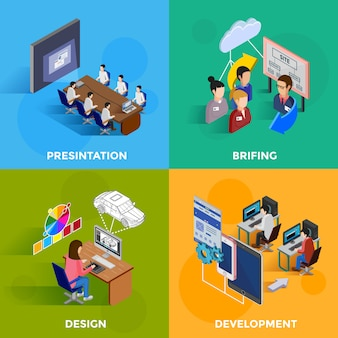 Isometrisches designkonzept für die entwicklung