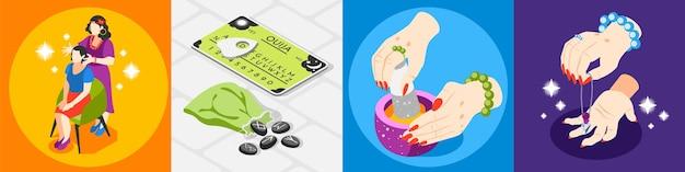 Isometrisches designkonzept für magische dienstleistungen mit 4x1-satz quadratischer illustration
