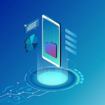 Isometrisches designkonzept für mobile technologielösung.