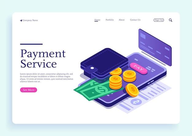 Isometrisches designkonzept für online-mobile-banking und internet-banking für die bargeldlose gesellschaft