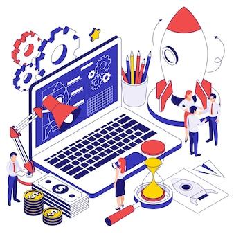 Isometrisches designkonzept für unternehmensgründungen mit high-tech-programm-app auf laptop-bildschirmrakete und zahnradsymbolen