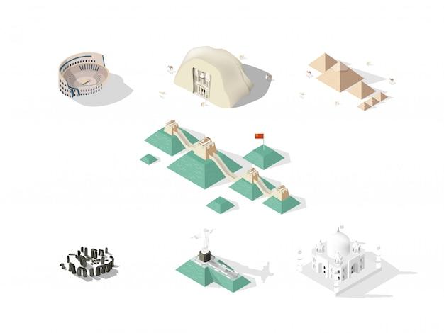 Isometrisches designkonzept von sieben weltwundern: kolosseum, große mauer, petra, taj mahal, cristo redentor, große pyramide von gizeh