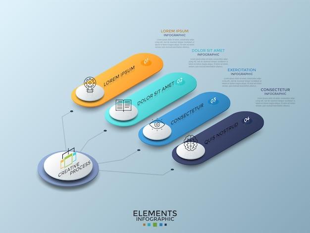 Isometrisches diagramm mit 4 bunt nummerierten abgerundeten elementen, die mit dem weißen hauptkreis verbunden sind. konzept von vier geschäftsmerkmalen. kreative infografik-design-vorlage. vektor-illustration.