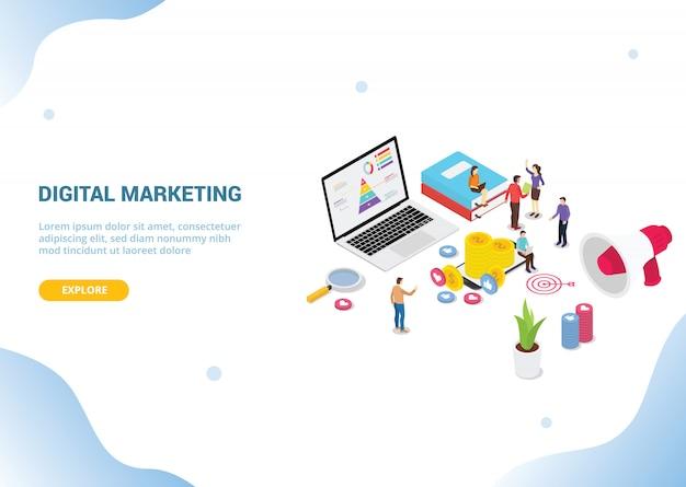 Isometrisches digitales marketingkonzept für websitevorlagenfahnen-landungshomepage