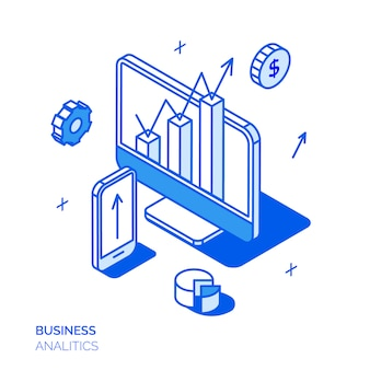 Isometrisches digitales marketingkonzept