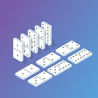 Isometrisches domino-konzept. vektorillustration im flachen stil.