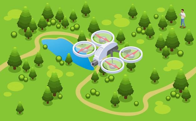 Isometrisches drohnen-schießvideokonzept mit quadrocopter, der über park fliegt