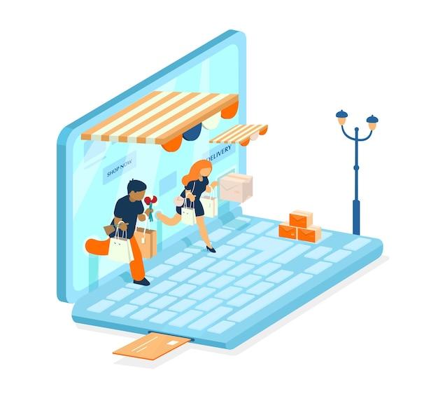 Isometrisches e-commerce-konzept. online-shopping-konzept. mann und eine frau mit einkäufen gehen vom laptop aus. onlinebezahlung. laptop wie ein laden.