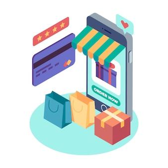 Isometrisches e-commerce-konzeptdesign