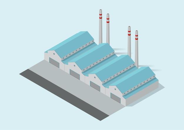Isometrisches einfaches industriegebäude