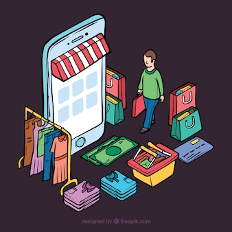 Isometrisches einkaufskonzept mit personen