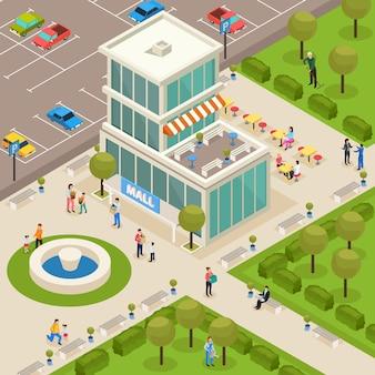 Isometrisches einkaufszentrum in der nähe des parks