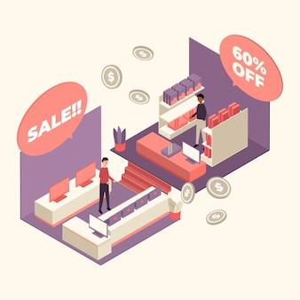 Isometrisches einkaufszentrum-konzept
